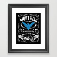 nightwing  label whiskey style Framed Art Print