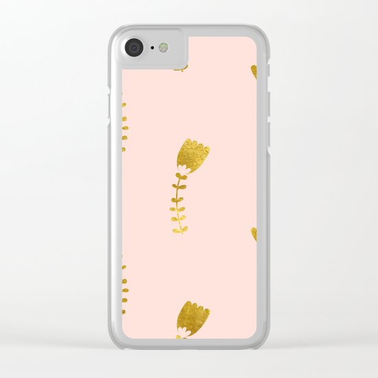 Pink Gold Foil 03 Clear iPhone Case