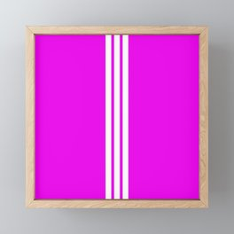 3 White Stripes on Pink Framed Mini Art Print