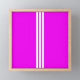 3 White Stripes on Pink Framed Mini Art Print