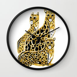 Gold Cheetahs Wall Clock