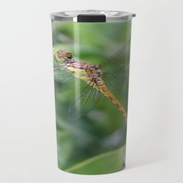Green and Brown Dragonfly Holding On To Oleander Travel Mug