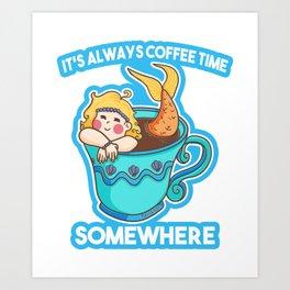 Coffee Mermaid Mugs Mermaid woman Art Print