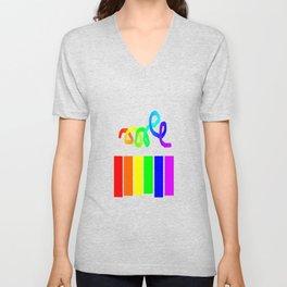 Rainbow on white Unisex V-Neck