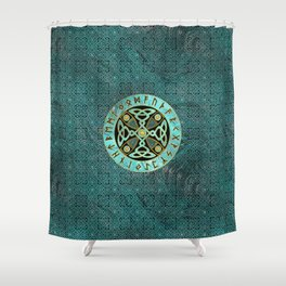 Decorative Celtic Cross  - and Runes alphabet Shower Curtain