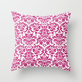 Elegant Damask Pattern (fuchsia) Throw Pillow