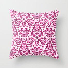 Elegant Damask Pattern (fuchsia) Throw Pillow