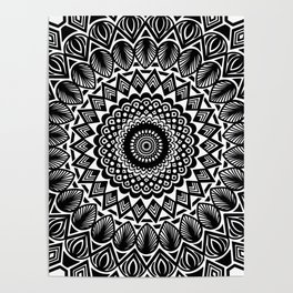 Detailed Black and White Mandala Poster