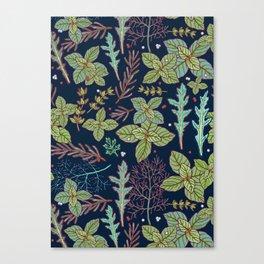 dark herbs pattern Canvas Print