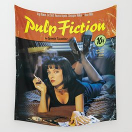 Pulp Fiction Movie Poster, Written And Directed By Quentin Tarantino Artwork, Posters, Prints, Tshir Wall Tapestry