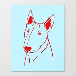 Bull Terrier (Light Blue and Red) Canvas Print
