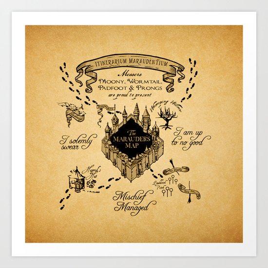 Marauders Map Art Print By Sahira Society6