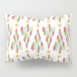 Modern Minimalist Holiday Christmas Tree in Muted Colors Red Green Blue Gold Pillow Sham