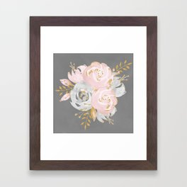 Night Rose Garden Gray Framed Art Print