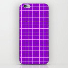 Dark violet - violet color - White Lines Grid Pattern iPhone Skin