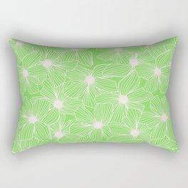 02 White Flowers on Green Rectangular Pillow