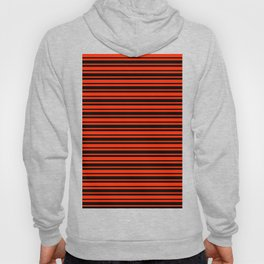 Bright Red and Black Horizontal Var Size Stripes Hoody