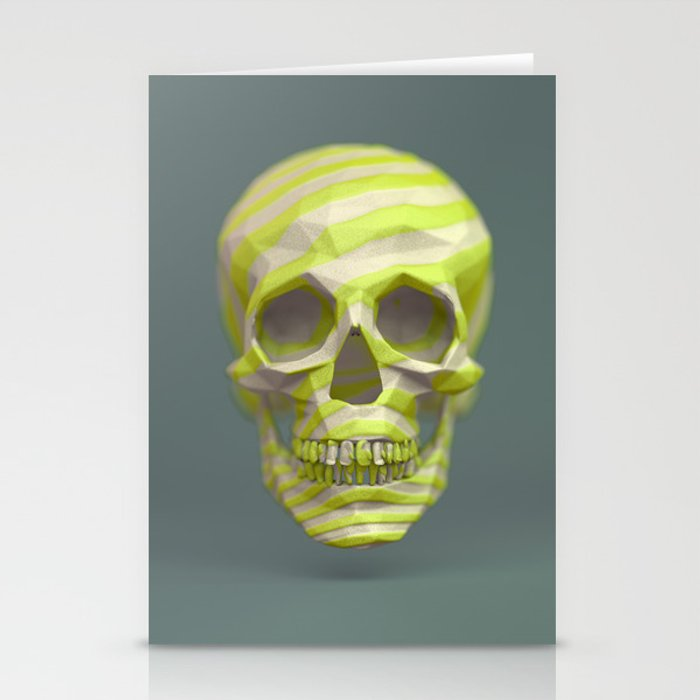 Yellow pop candy skull 3D render. Stationery Cards