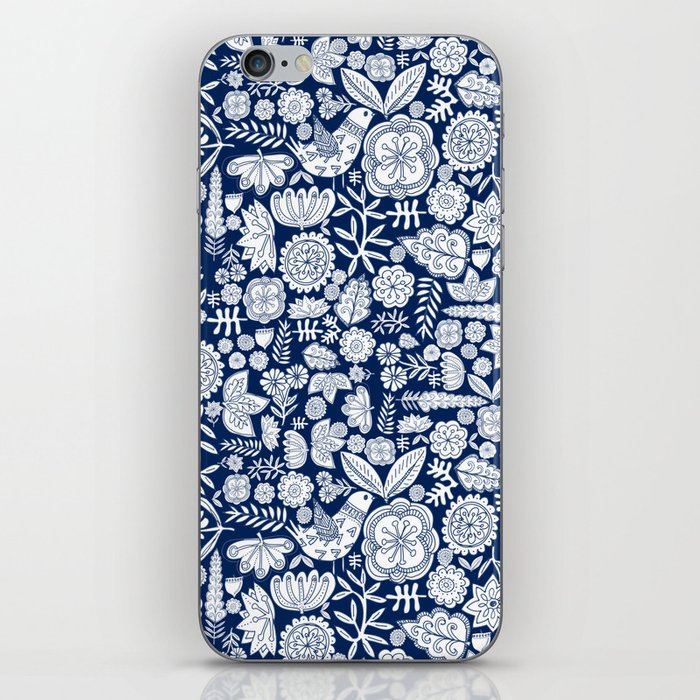 midnight blue garden party iPhone Skin