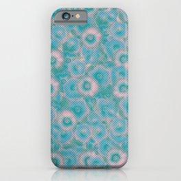 Halftone Pansies Aqua Teal Pink iPhone Case