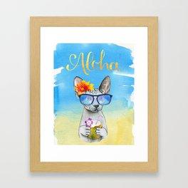 Aloha Cat // sphynx cat on holiday at the beach Framed Art Print