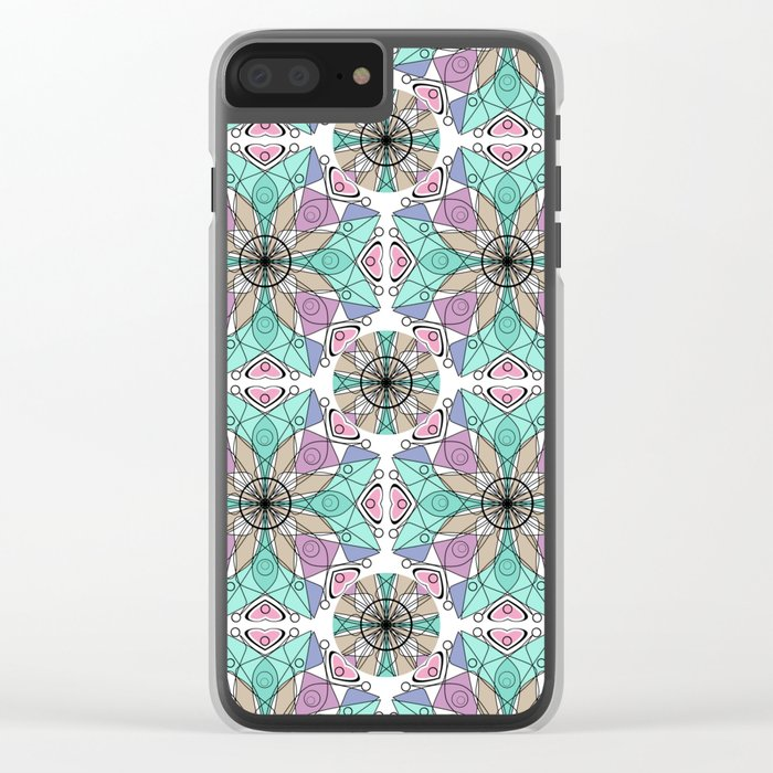 Turquoise pink abstract pattern . Clear iPhone Case