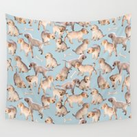 puppies Wall Tapestries featuring Too Many Puppies by micklyn