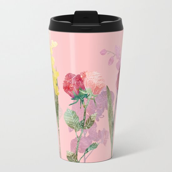 Flowers Four Pink Metal Travel Mug
