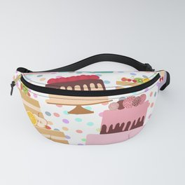 Birthday, valentine's day, wedding, engagement. Set sweet cake, chocolate icing sprinkles Fanny Pack
