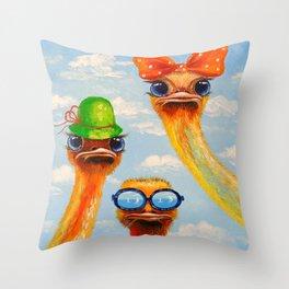 Ostriches friends Throw Pillow