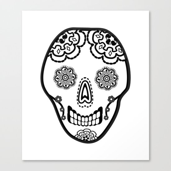 Black and White Sugar Skull (Calavera) Canvas Print