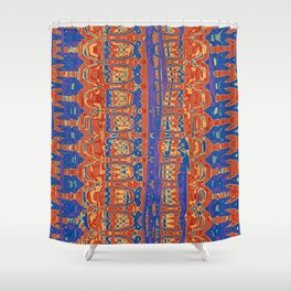 Wrinkly Batik Blue Red Mix 1 Shower Curtain