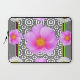 Modern Art Style Shasta Daisy Pink Roses  Grey color Abstract art Laptop Sleeve