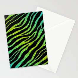 Ripped SpaceTime Stripes - Cyan/Lime Stationery Cards