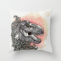 dinosaur Throw Pillows featuring Dinosaur by Gemma Goode