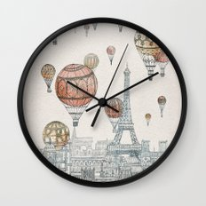Voyages Over Paris Wall Clock