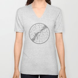 Star Map with ecliptic and galactic equator and Milky Way Unisex V-Neck