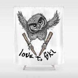 Love to ski Shower Curtain