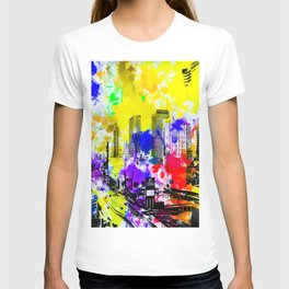 building of the hotel and casino at Las Vegas, USA with blue yellow red green purple painting abstra T-shirt