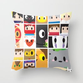 World of Ghibli Blocks Throw Pillow