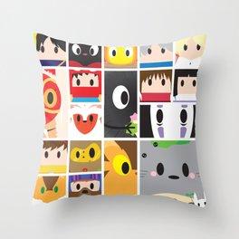 World of Ghibli Blocks Throw Pillow