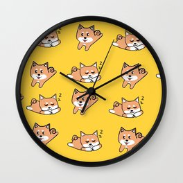 Mustard Shiba Wall Clock