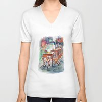 street art V-neck T-shirts featuring Street by Anastasia Tayurskaya
