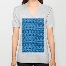 Classic Blue Boho Festival Abstract Wave Geometric Pattern Unisex V-Neck