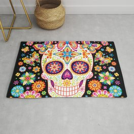 Sugar Skull Art - Sugar Skull with Butterflies and Flowers by Thaneeya McArdle Rug