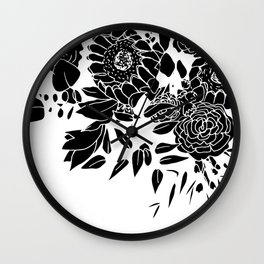 Floral Bouquet Explosion In Black Wall Clock