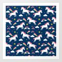 Unicorns happy clouds rainbows magical pony pattern navy pastels by charlottewinter
