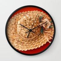 hat Wall Clocks featuring Hat  by Gaspar Avila