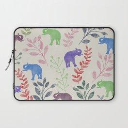 Watercolor Flowers & Elephants Laptop Sleeve