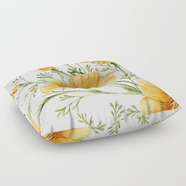California Poppies - Watercolor Painting Floor Pillow